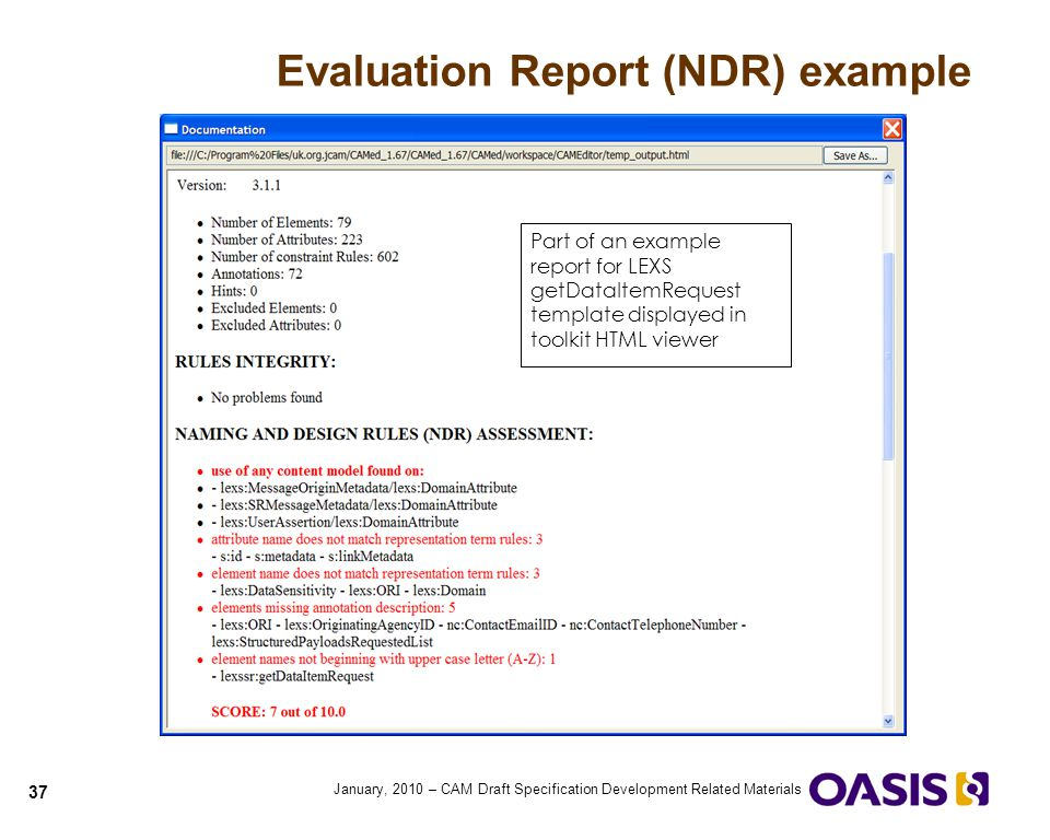 Evaluation Report (NDR) example
