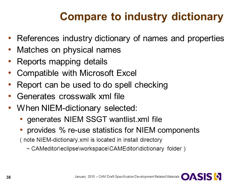 Compare to industry dictionary