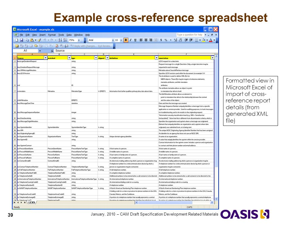 Example cross-reference spreadsheet