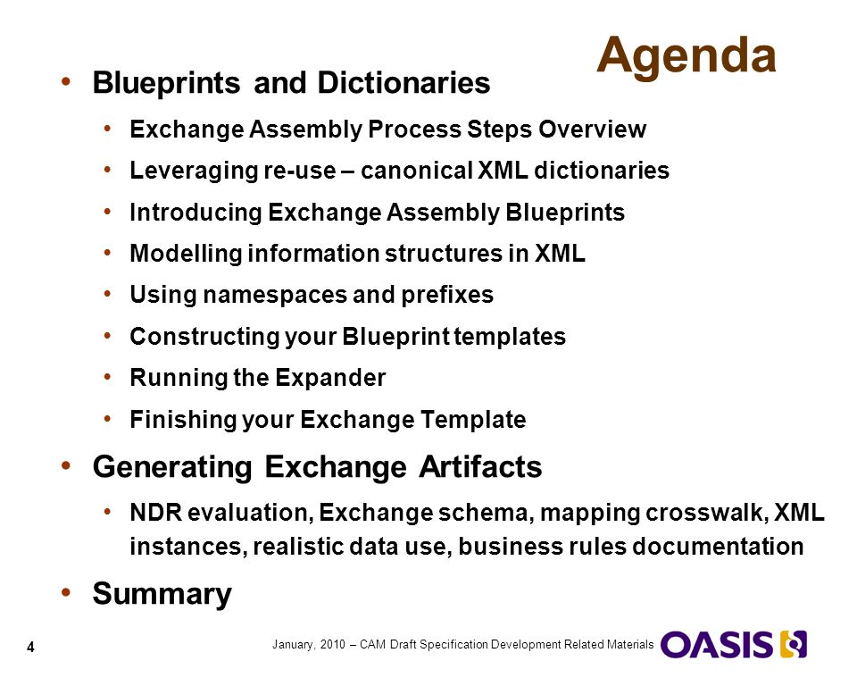 Agenda Blueprints and Dictionaries Generating Exchange Artifacts
