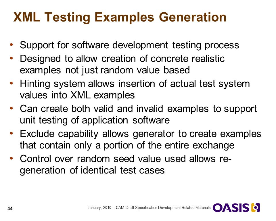 XML Testing Examples Generation