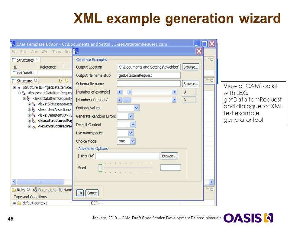 XML example generation wizard