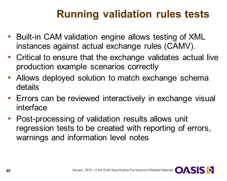 Running validation rules tests