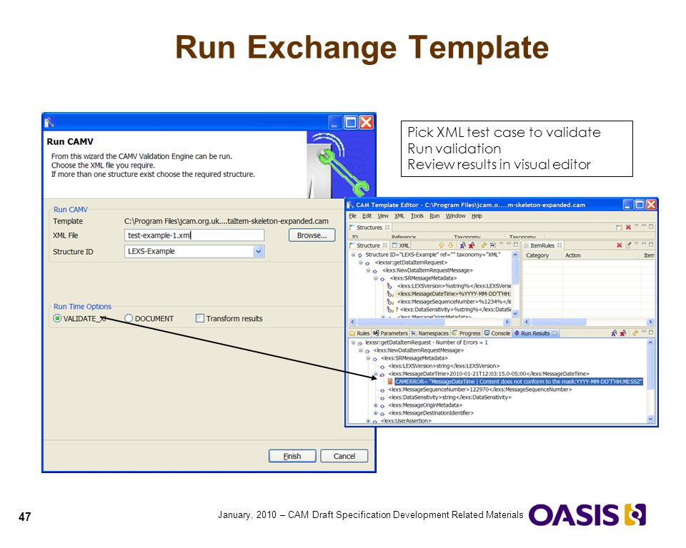Run Exchange Template Pick XML test case to validate Run validation