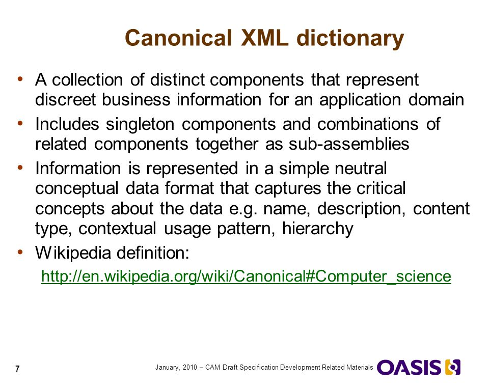Canonical XML dictionary