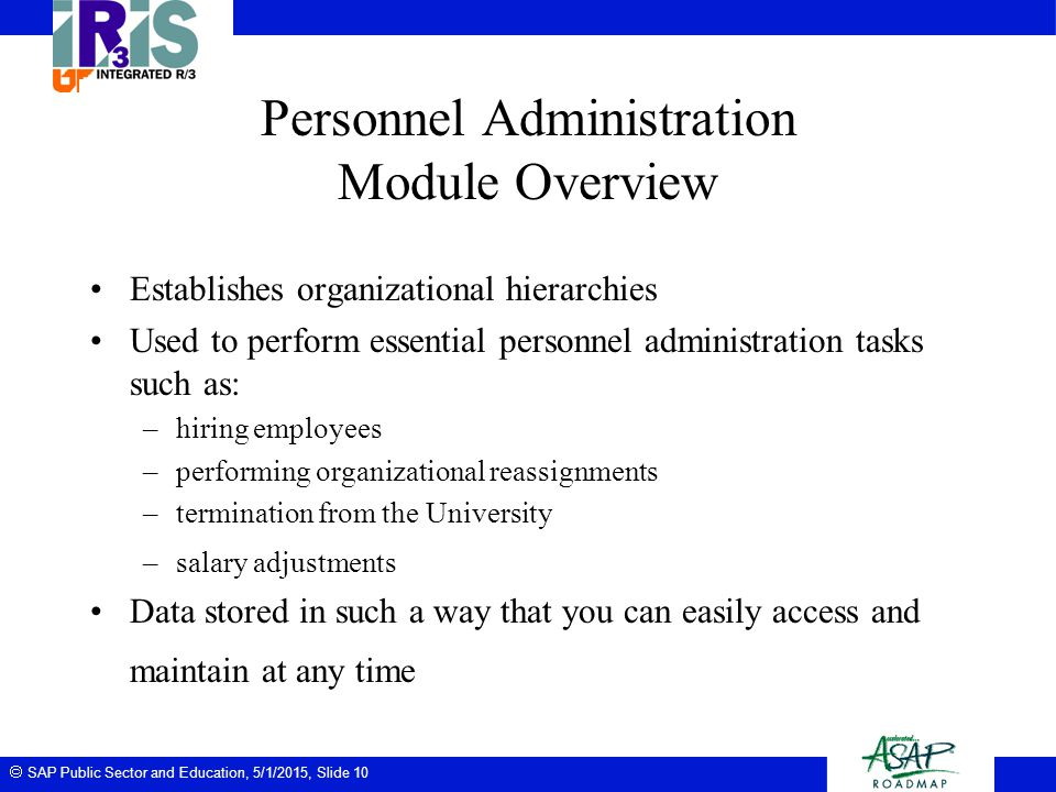 Personnel Administration Module Overview