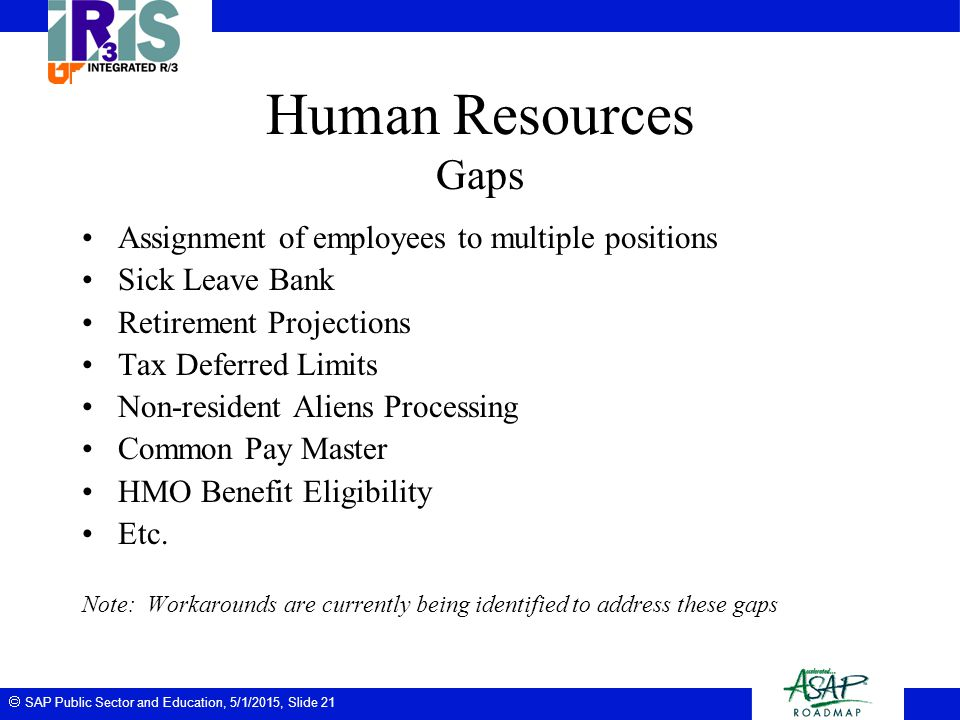 Human Resources Gaps Assignment of employees to multiple positions