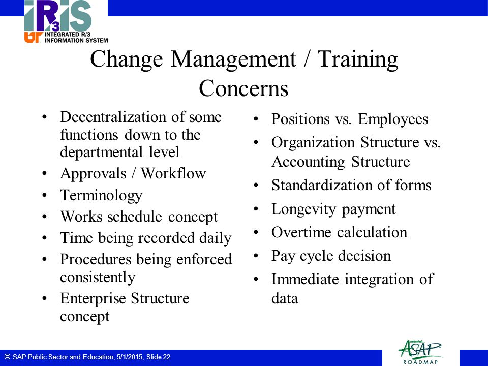 Change Management / Training Concerns