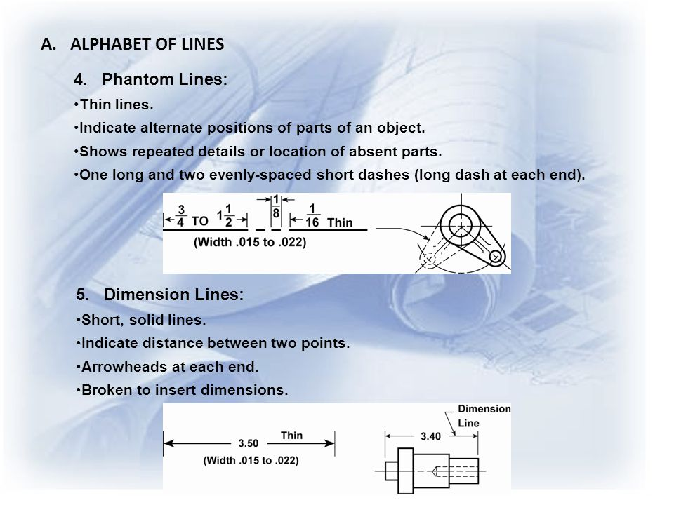 A. ALPHABET OF LINES 4. Phantom Lines: 5. Dimension Lines: Thin lines.