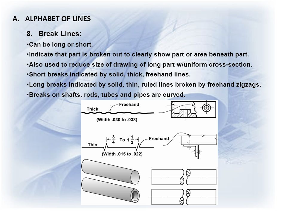 A. ALPHABET OF LINES 8. Break Lines: Can be long or short.