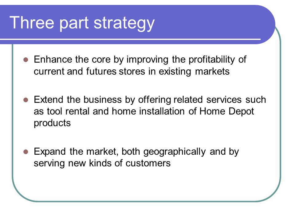 Three part strategy Enhance the core by improving the profitability of current and futures stores in existing markets.