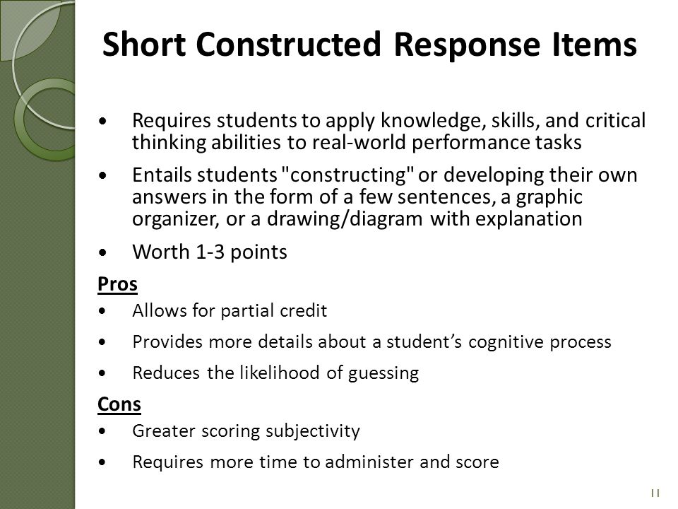 Short Constructed Response Items