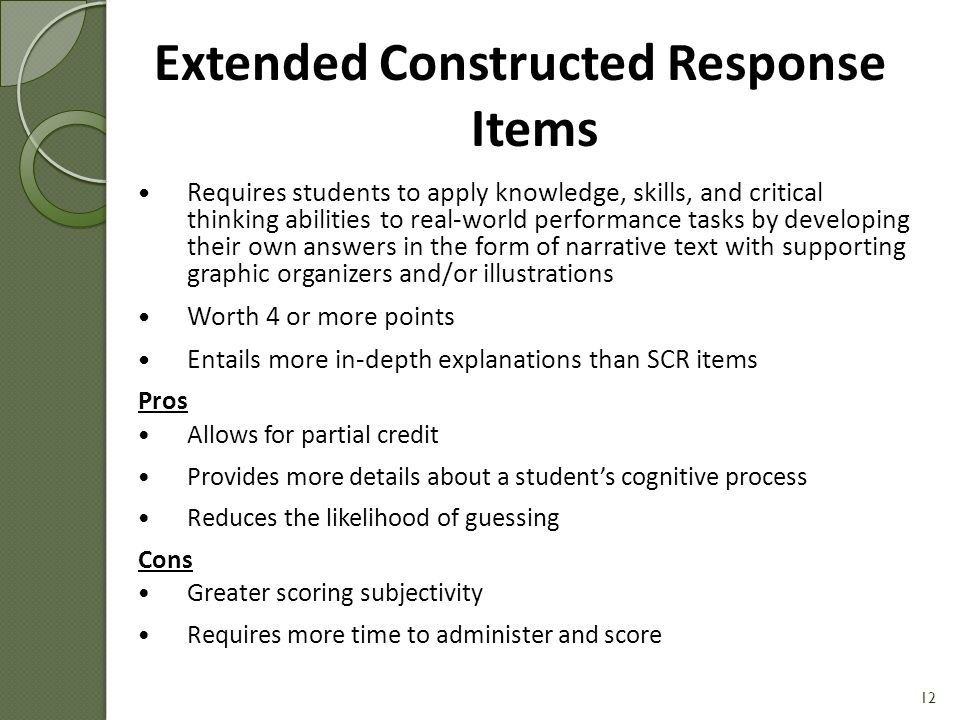 Extended Constructed Response Items