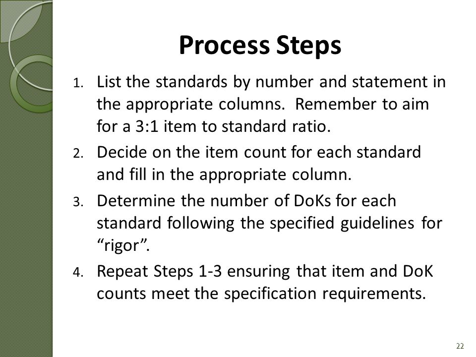 Process Steps List the standards by number and statement in the appropriate columns. Remember to aim for a 3:1 item to standard ratio.