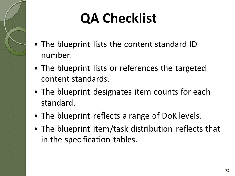QA Checklist The blueprint lists the content standard ID number.