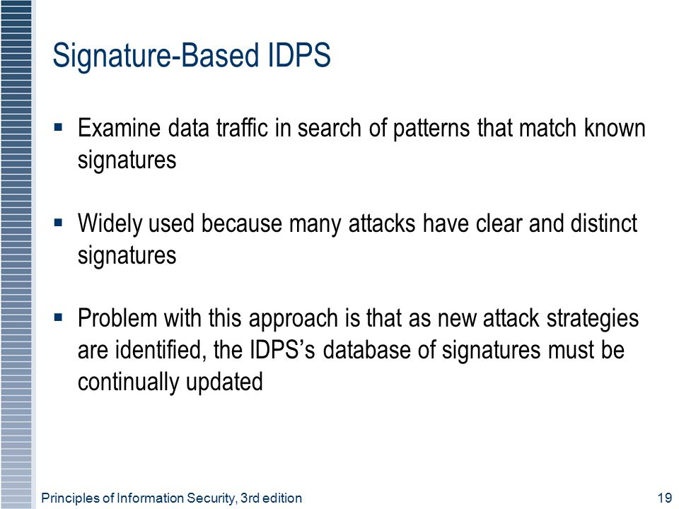 Signature-Based IDPS Examine data traffic in search of patterns that match known signatures.