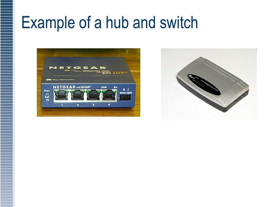 Example of a hub and switch