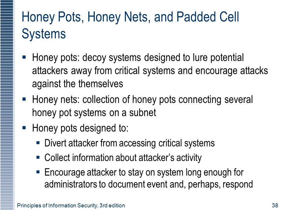 Honey Pots, Honey Nets, and Padded Cell Systems