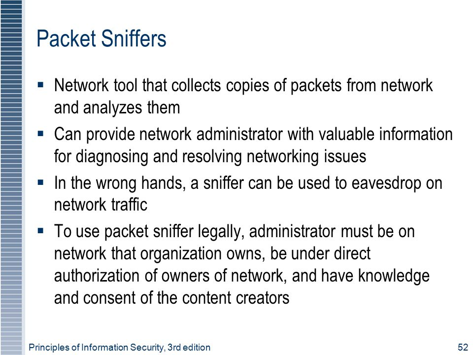 Packet Sniffers Network tool that collects copies of packets from network and analyzes them.