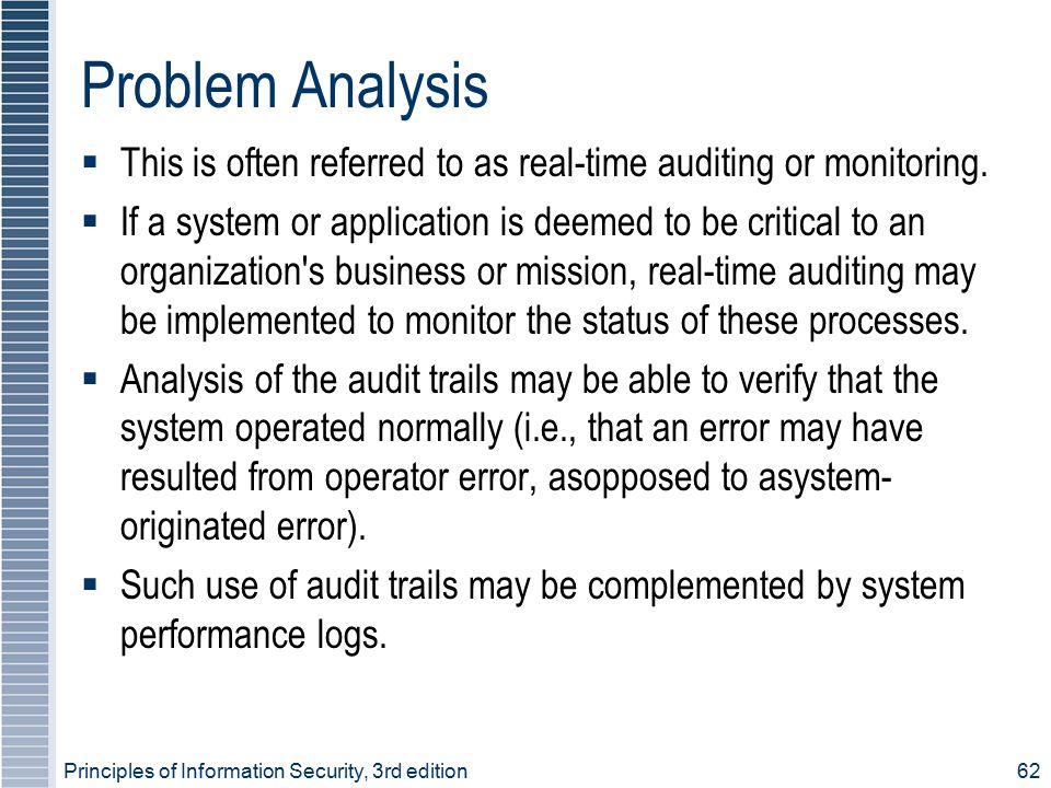 Problem Analysis This is often referred to as real-time auditing or monitoring.
