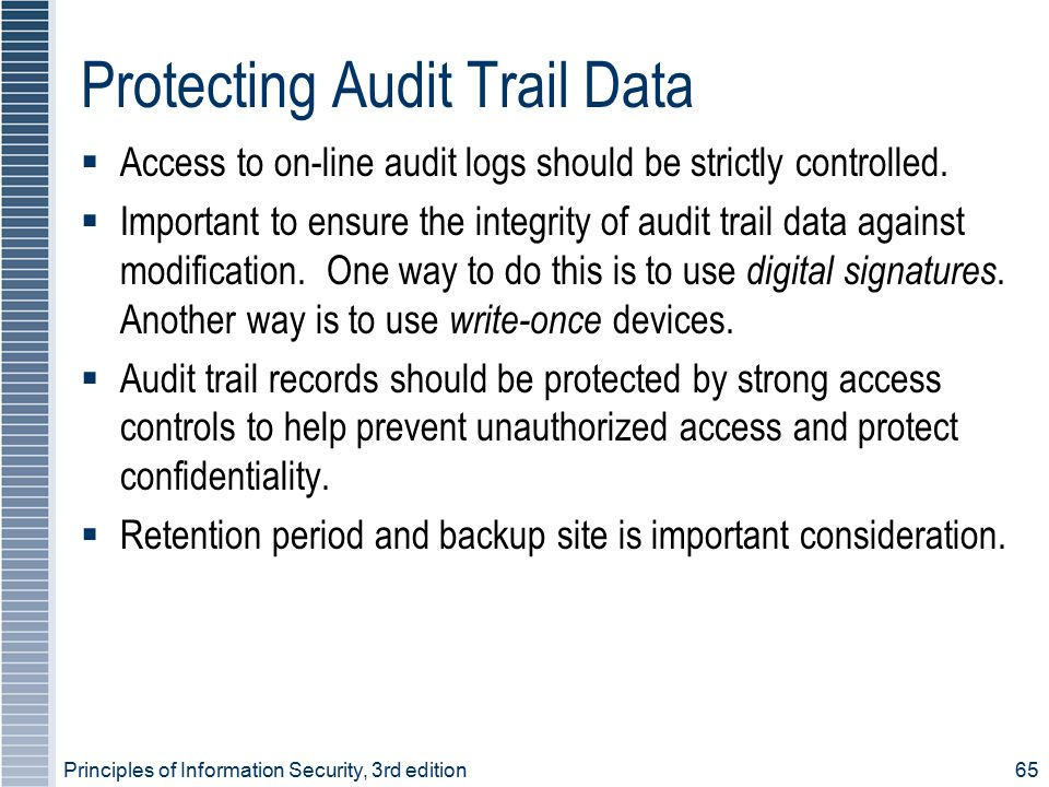 Protecting Audit Trail Data