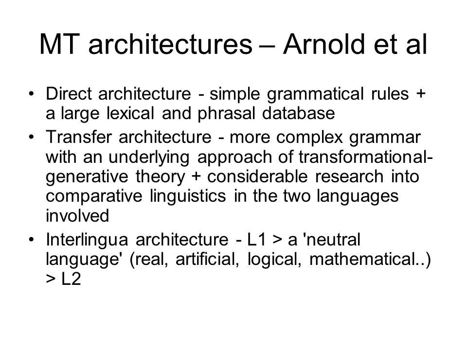 MT architectures – Arnold et al