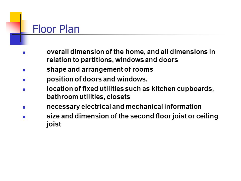 Floor Plan overall dimension of the home, and all dimensions in relation to partitions, windows and doors.
