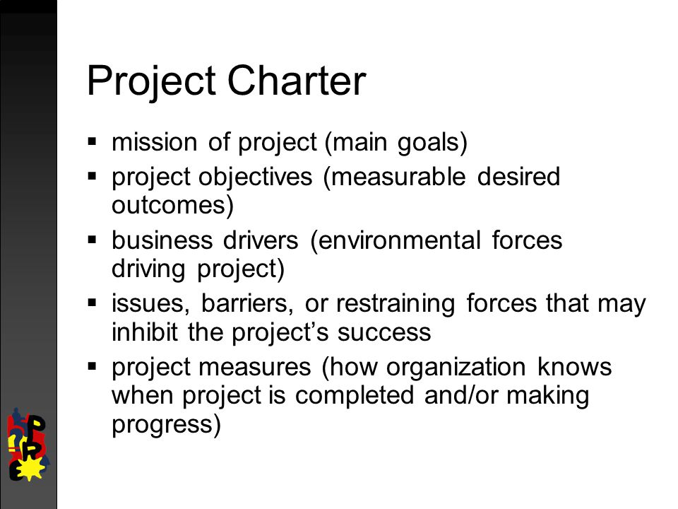 Project Charter mission of project (main goals)