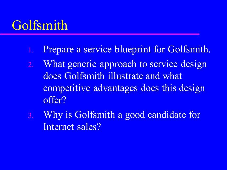 Golfsmith Prepare a service blueprint for Golfsmith.