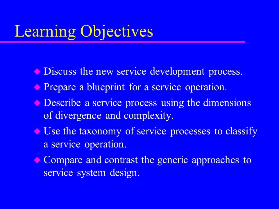 Learning Objectives Discuss the new service development process.