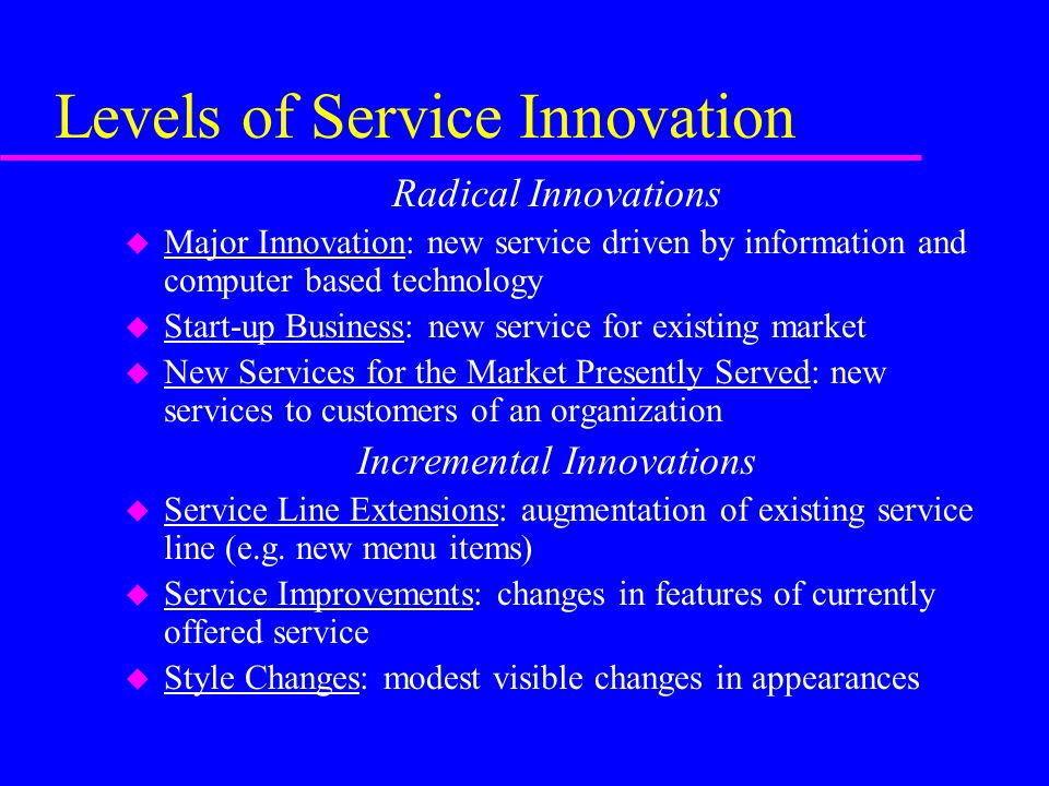 Levels of Service Innovation
