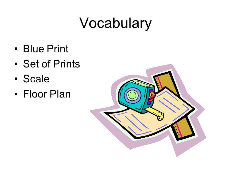 Vocabulary Blue Print Set of Prints Scale Floor Plan