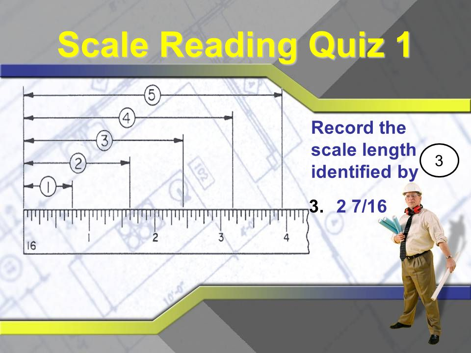 Scale Reading Quiz 1 Record the scale length identified by 3 2 7/16