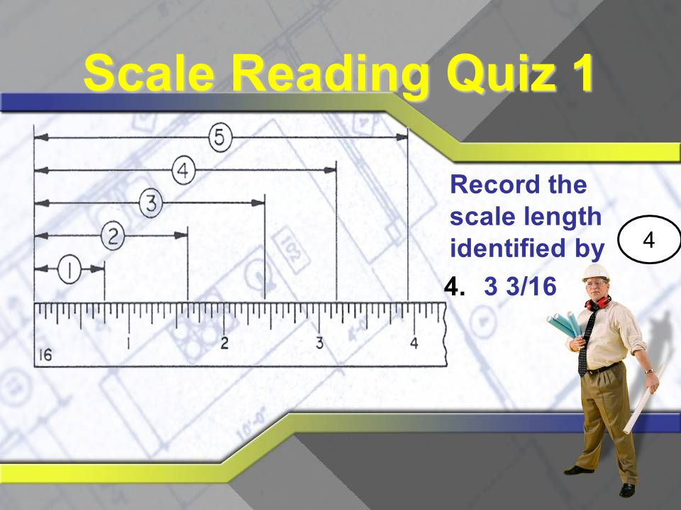 Scale Reading Quiz 1 Record the scale length identified by 4 3 3/16