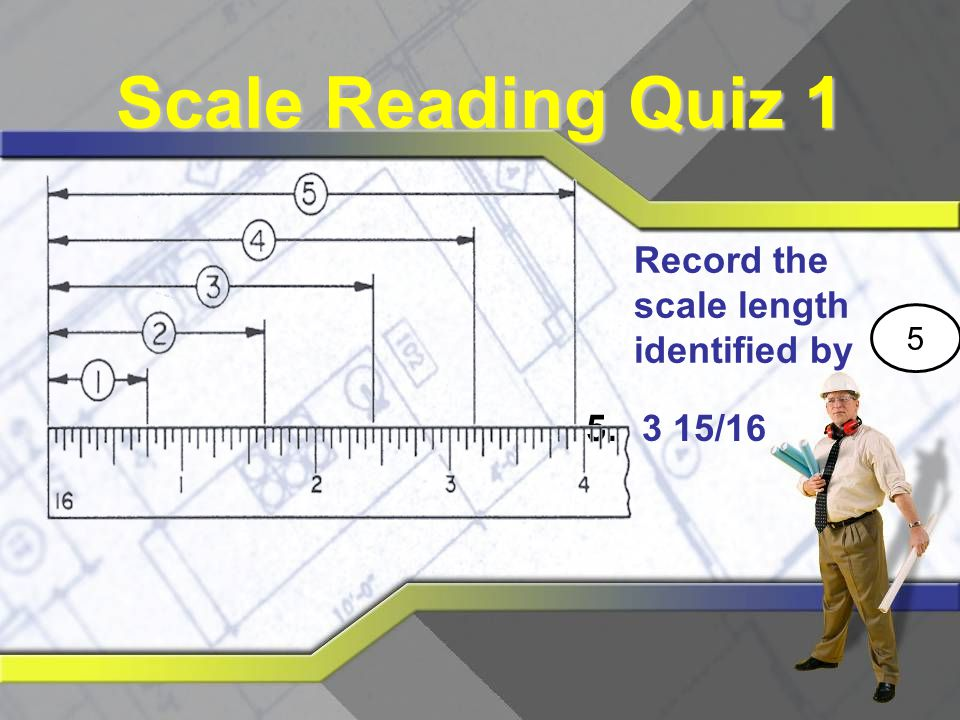 Scale Reading Quiz 1 Record the scale length identified by 5 3 15/16