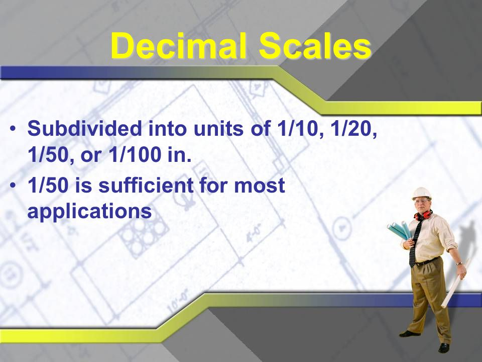 Decimal Scales Subdivided into units of 1/10, 1/20, 1/50, or 1/100 in.