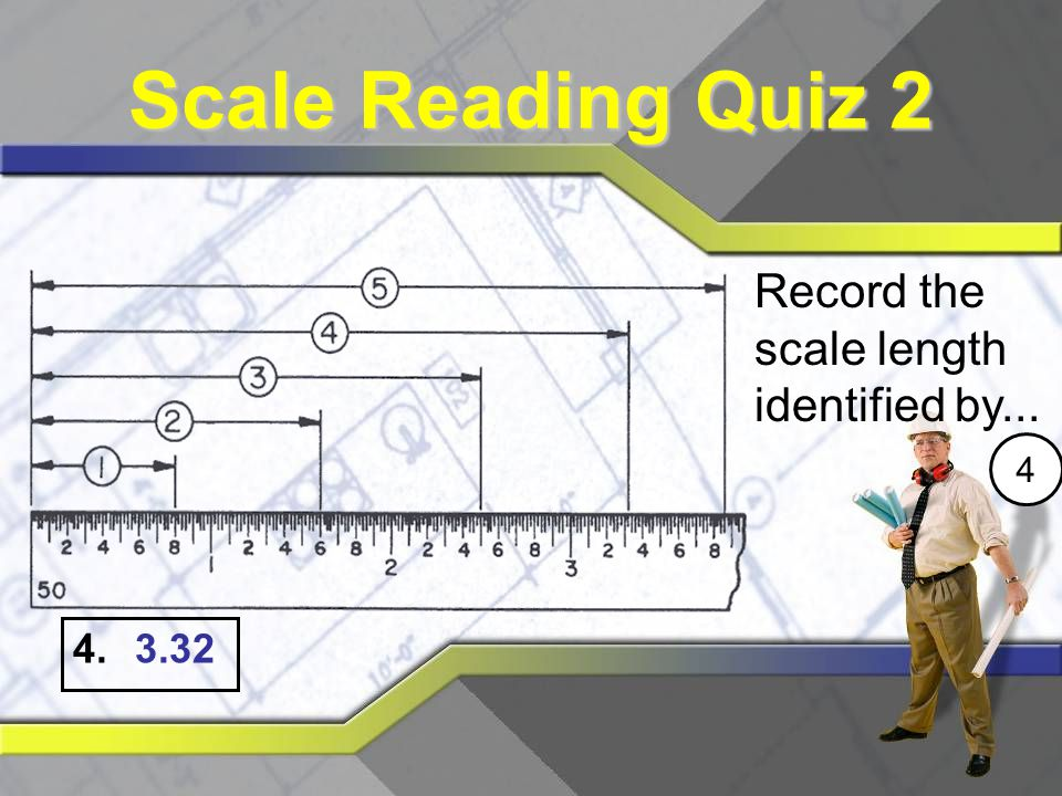 Scale Reading Quiz 2 Record the scale length identified by... 4 3.32