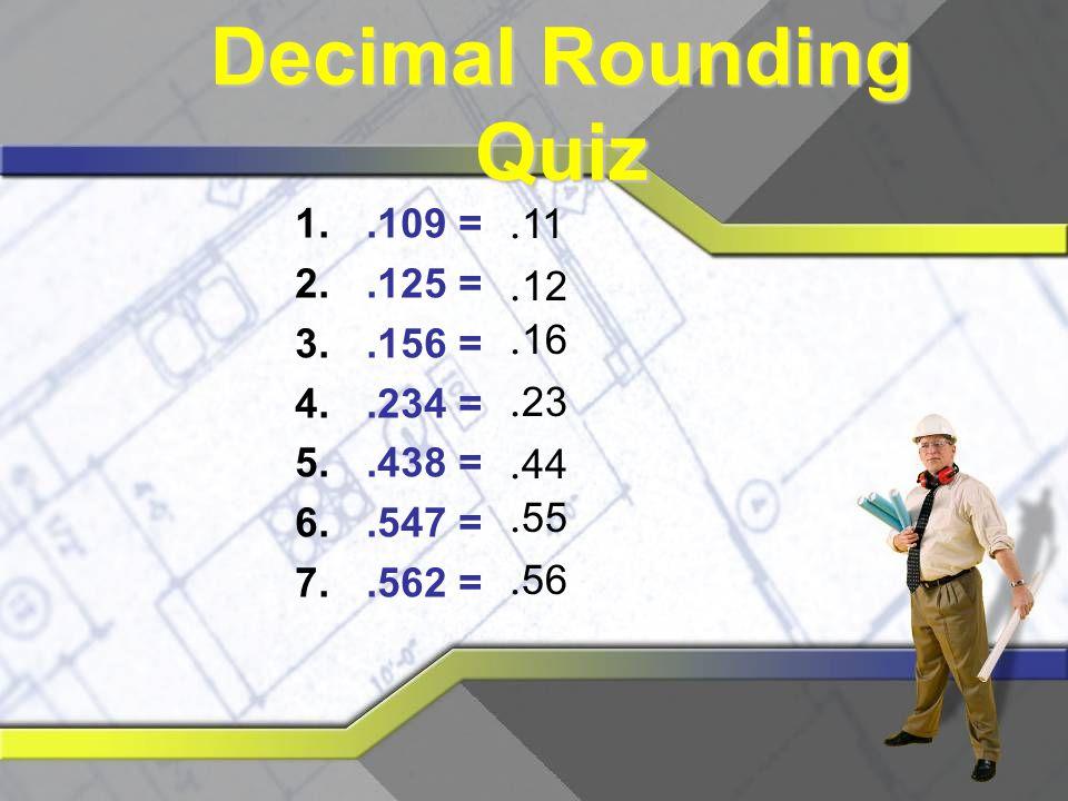 Decimal Rounding Quiz .11 .12 .16 .23 .44 .55 .56 .109 = .125 = .156 =