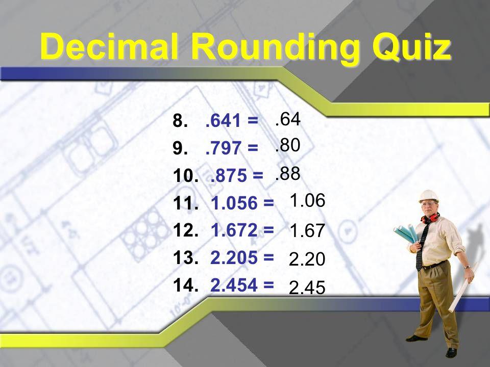 Decimal Rounding Quiz .64 .641 = .797 = .875 = 1.056 = 1.672 = 2.205 =