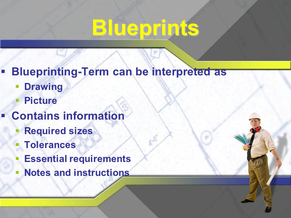 Blueprints Blueprinting-Term can be interpreted as