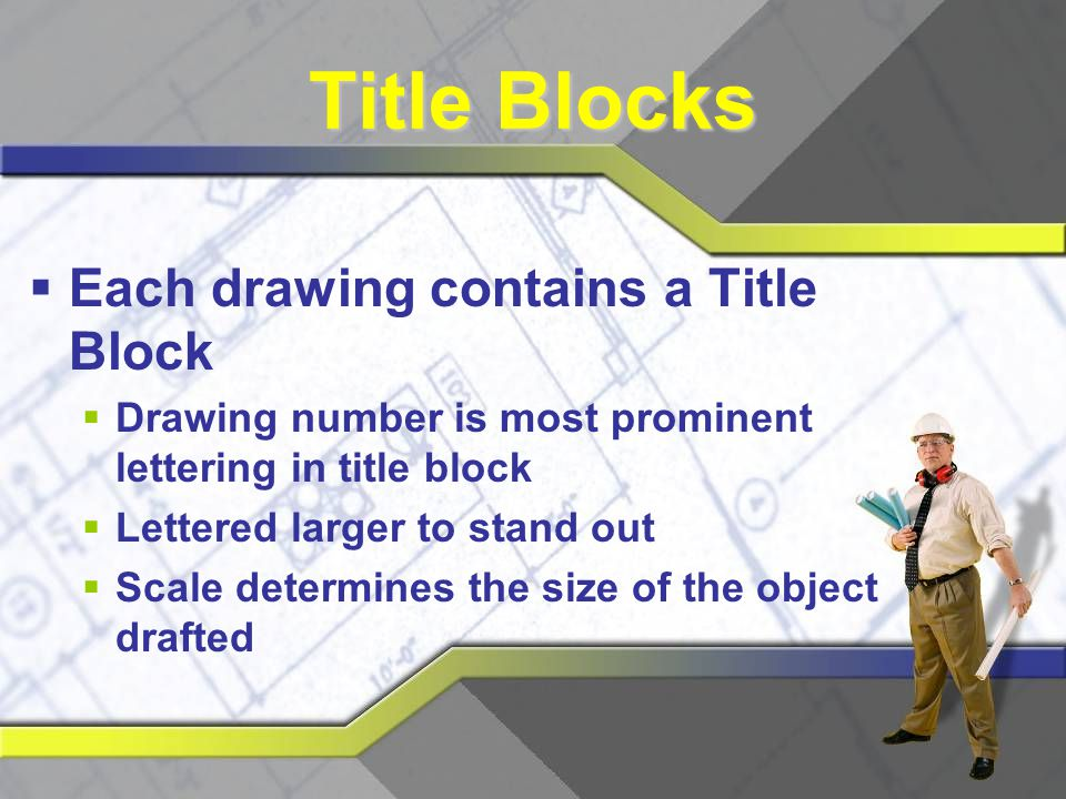 Title Blocks Each drawing contains a Title Block