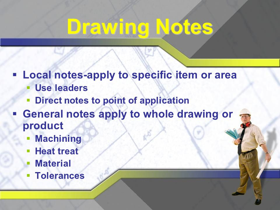 Drawing Notes Local notes-apply to specific item or area