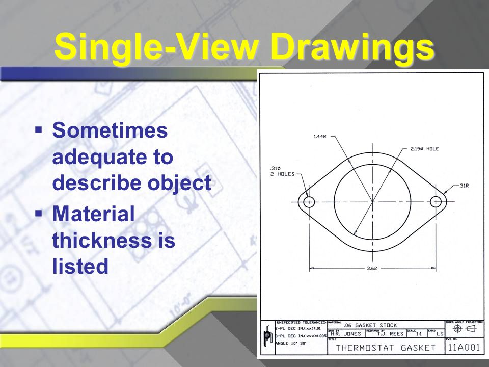 Single-View Drawings Sometimes adequate to describe object