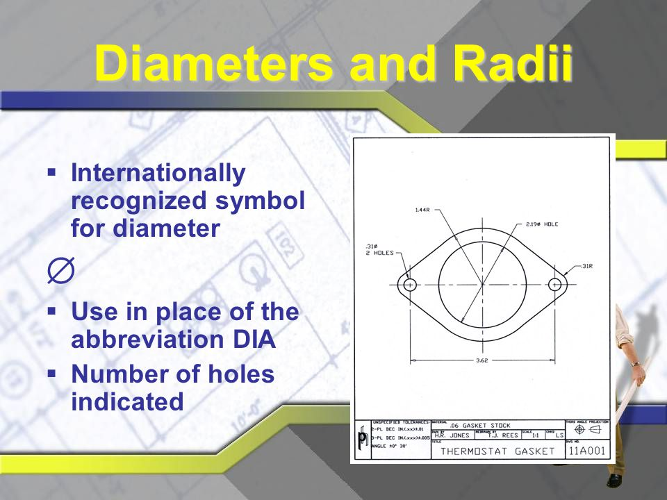 Diameters and Radii  Internationally recognized symbol for diameter