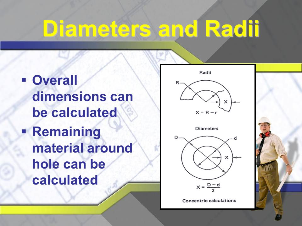 Diameters and Radii Overall dimensions can be calculated