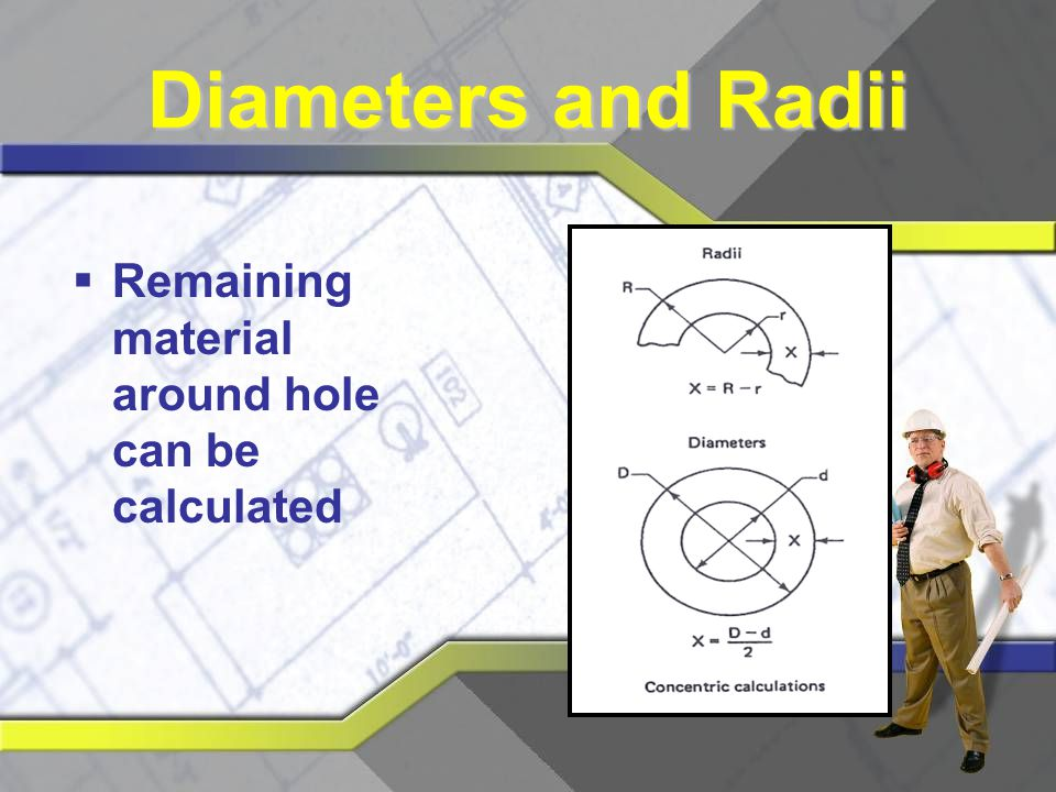 Diameters and Radii Remaining material around hole can be calculated
