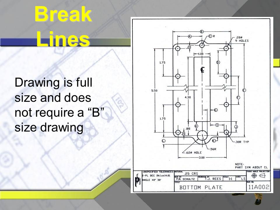 Break Lines Drawing is full size and does not require a B size drawing