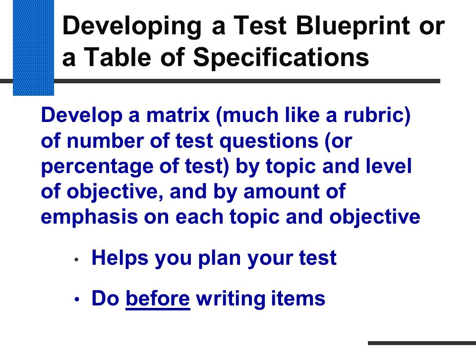 Developing a Test Blueprint or a Table of Specifications