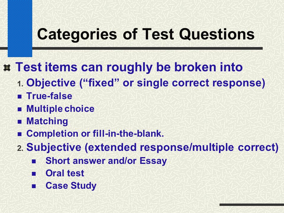 Categories of Test Questions
