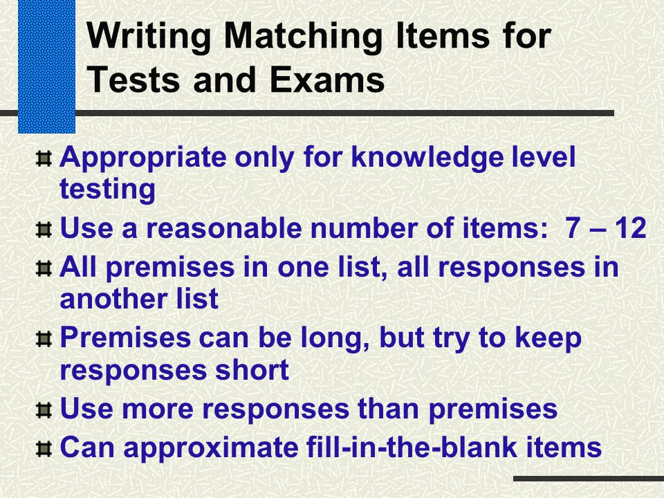 Writing Matching Items for Tests and Exams